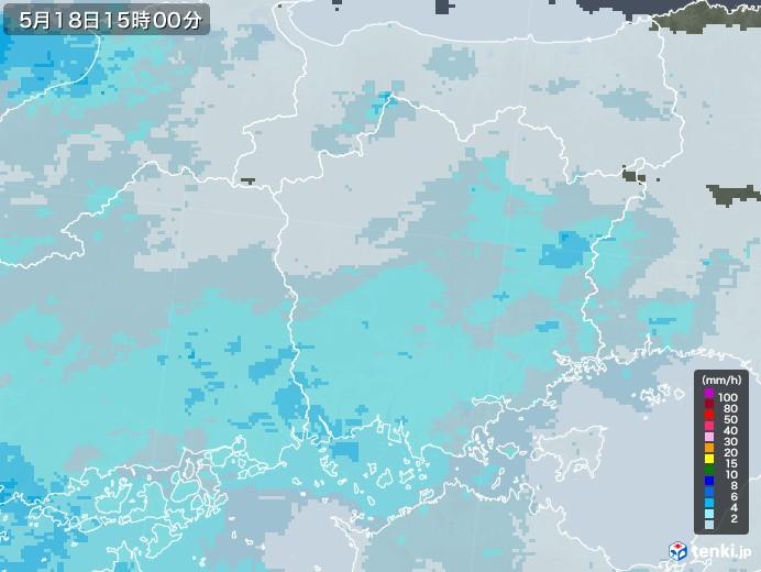 岡山県の雨雲レーダー(2020年05月18日)