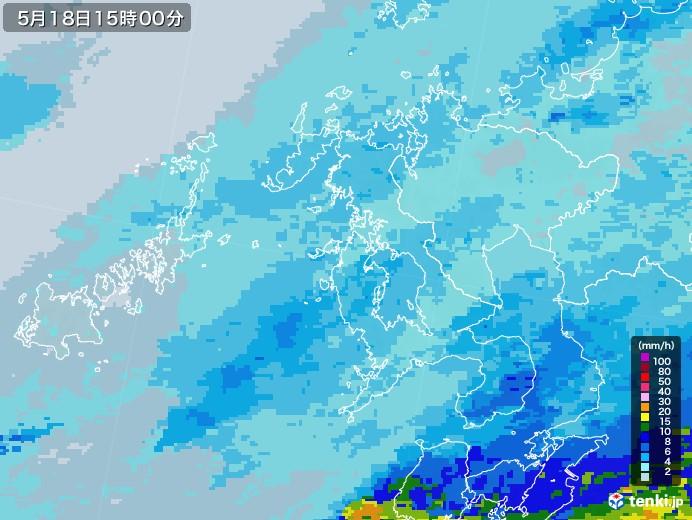 長崎県の雨雲レーダー(2020年05月18日)
