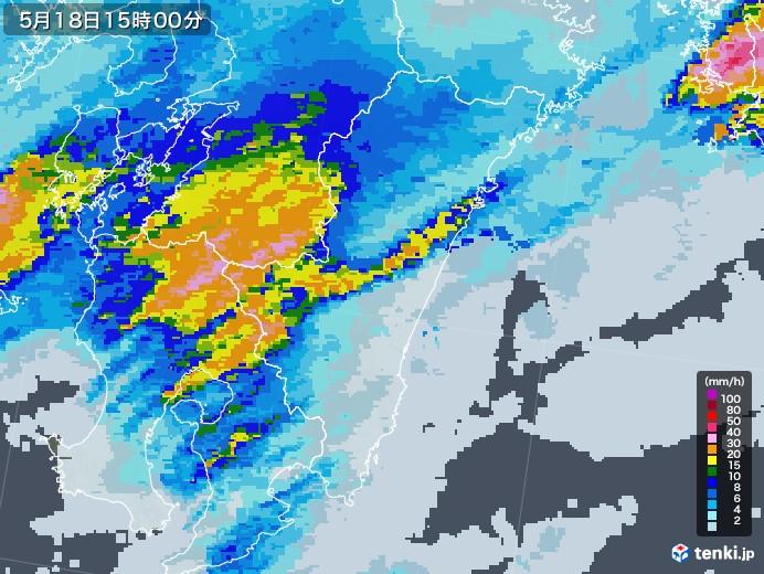 宮崎県の雨雲レーダー(2020年05月18日)