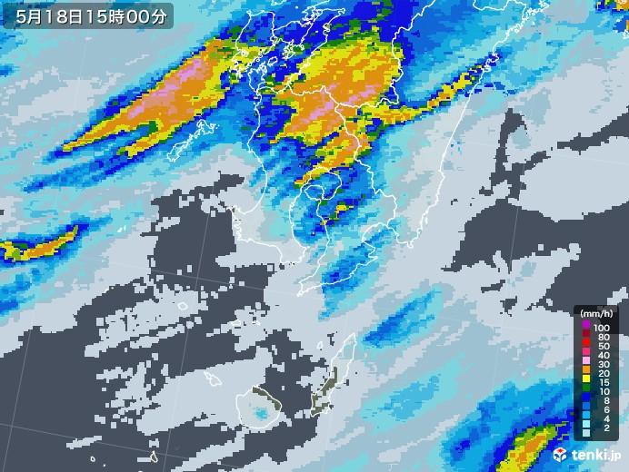 鹿児島県の雨雲レーダー(2020年05月18日)