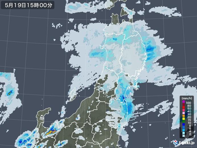 東北地方の雨雲レーダー(2020年05月19日)