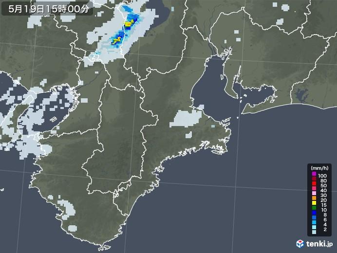 三重県の雨雲レーダー(2020年05月19日)