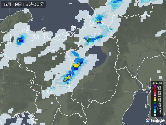 滋賀県の雨雲レーダー(2020年05月19日)