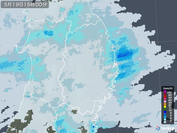 岩手県の雨雲レーダー(2020年05月19日)
