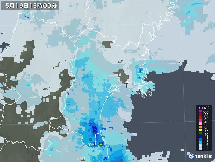 宮城県の雨雲レーダー(2020年05月19日)