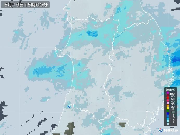 秋田県の雨雲レーダー(2020年05月19日)