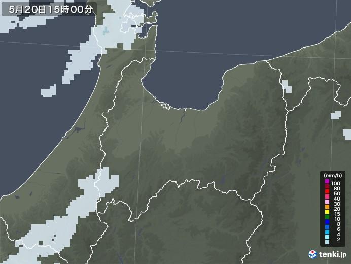 富山県の雨雲レーダー(2020年05月20日)