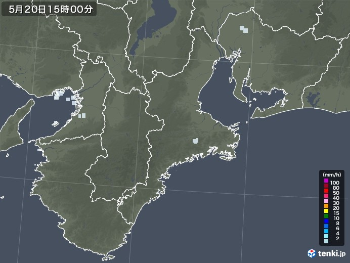 三重県の雨雲レーダー(2020年05月20日)