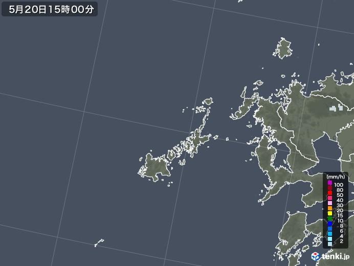 五島列島(長崎県)の雨雲レーダー(2020年05月20日)