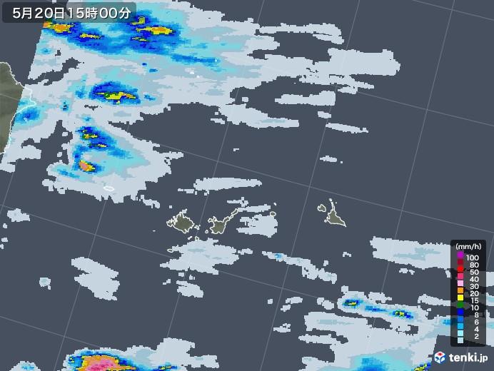 宮古島・石垣・与那国(沖縄県)の雨雲レーダー(2020年05月20日)