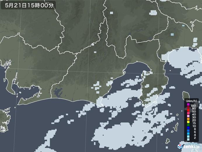 静岡県の雨雲レーダー(2020年05月21日)