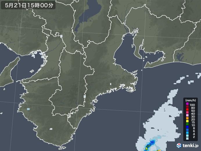 三重県の雨雲レーダー(2020年05月21日)