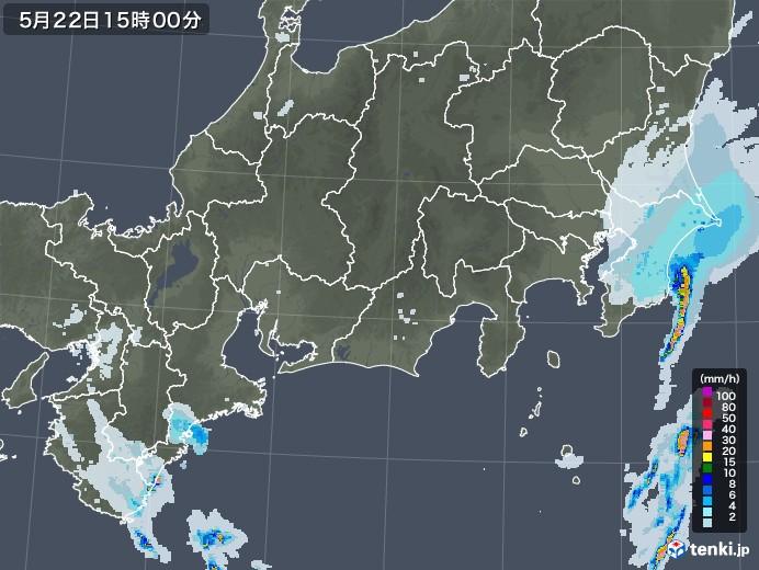 東海地方の雨雲レーダー(2020年05月22日)