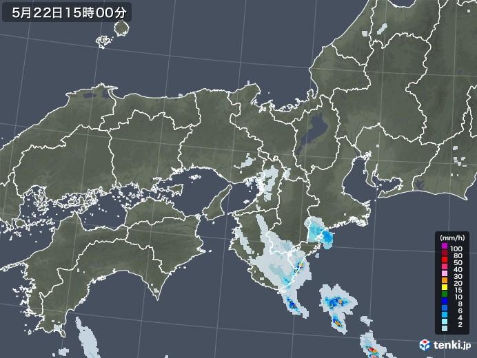 近畿地方の雨雲レーダー(2020年05月22日)