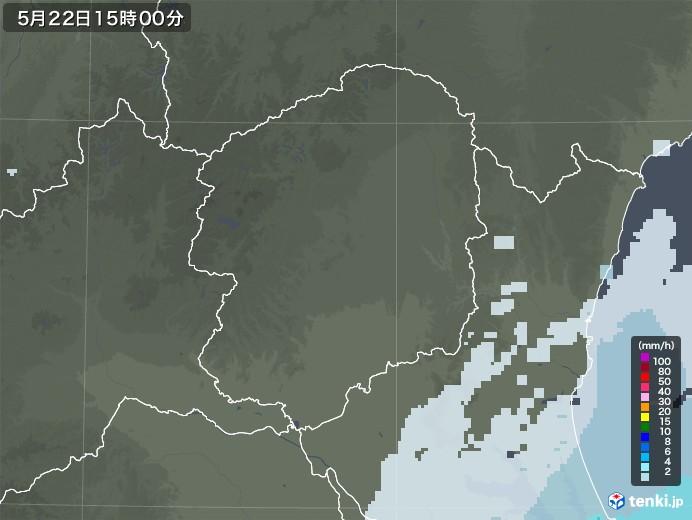 栃木県の雨雲レーダー(2020年05月22日)