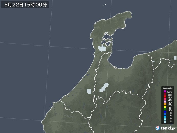 石川県の雨雲レーダー(2020年05月22日)