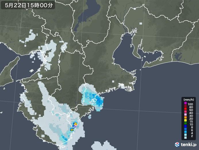 三重県の雨雲レーダー(2020年05月22日)
