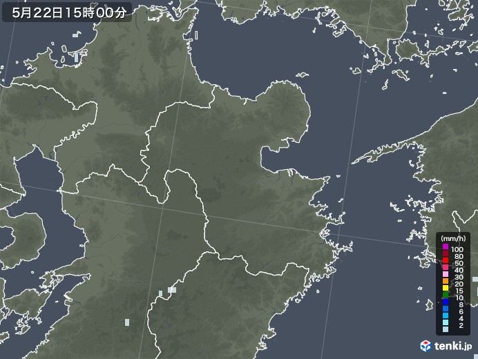 大分県の雨雲レーダー(2020年05月22日)