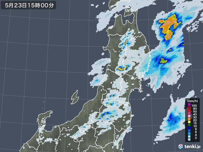 東北地方の雨雲レーダー(2020年05月23日)