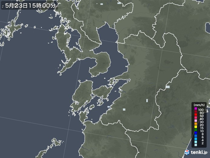 熊本県の雨雲レーダー(2020年05月23日)
