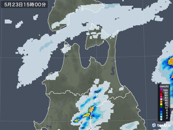 青森県の雨雲レーダー(2020年05月23日)