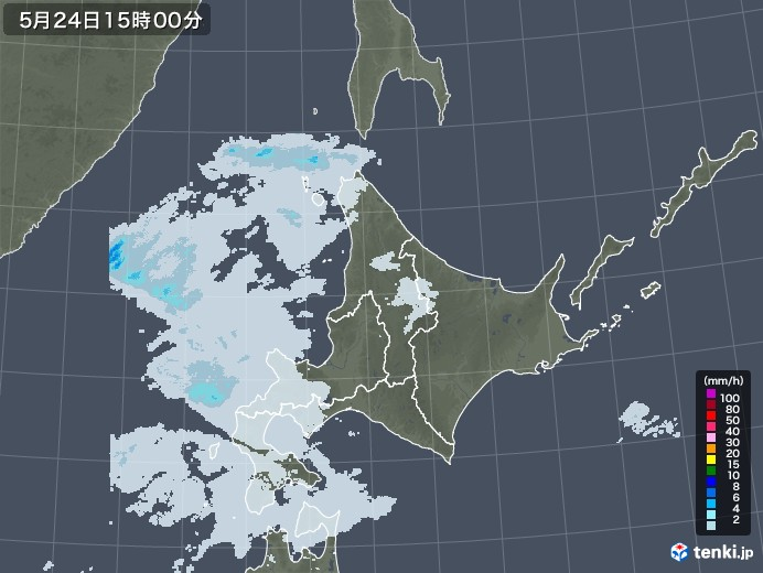 北海道地方の雨雲レーダー(2020年05月24日)