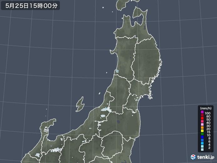 東北地方の雨雲レーダー(2020年05月25日)