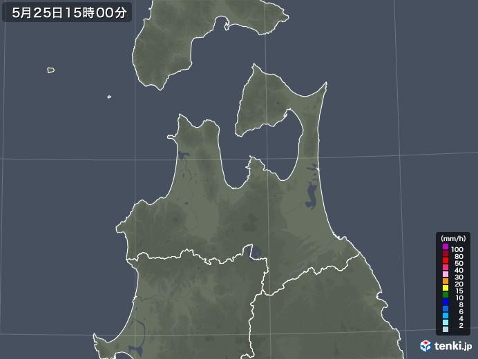 青森県の雨雲レーダー(2020年05月25日)