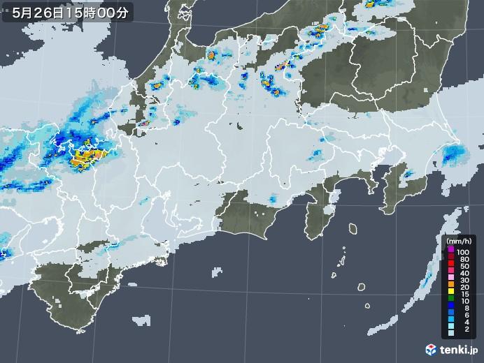 東海地方の雨雲レーダー(2020年05月26日)
