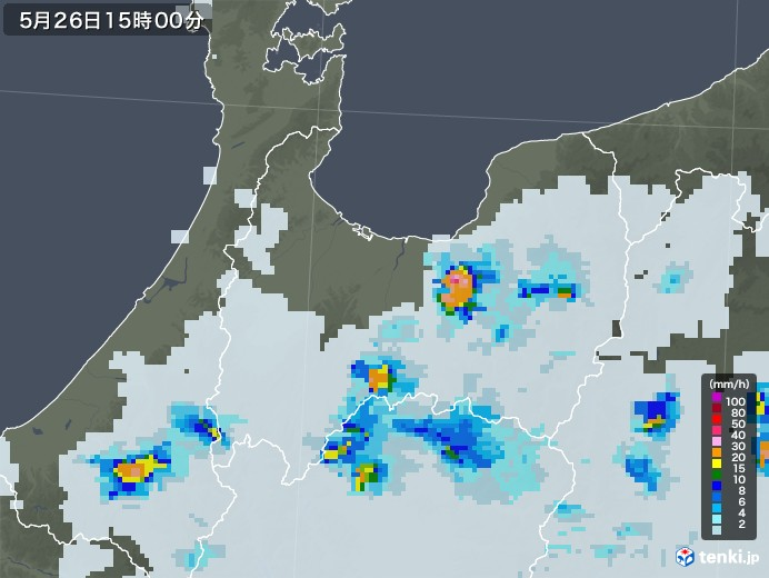 富山県の雨雲レーダー(2020年05月26日)