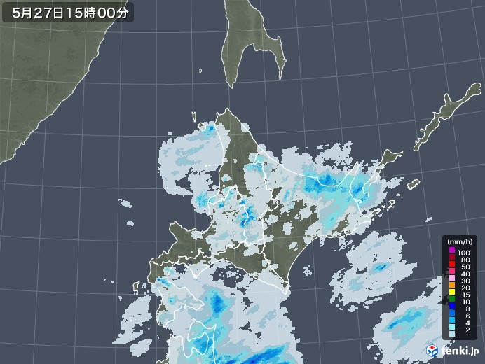 北海道地方の雨雲レーダー(2020年05月27日)