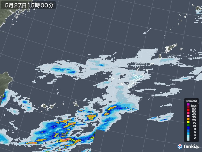 沖縄地方の雨雲レーダー(2020年05月27日)