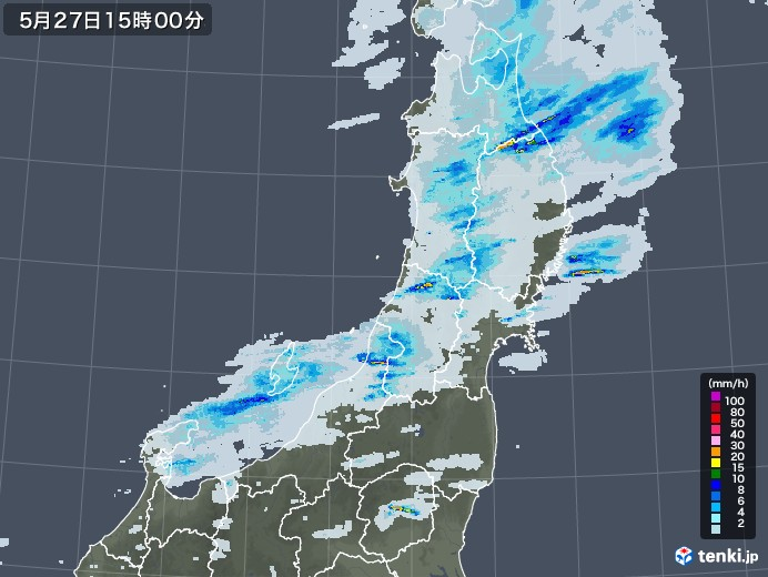 東北地方の雨雲レーダー(2020年05月27日)