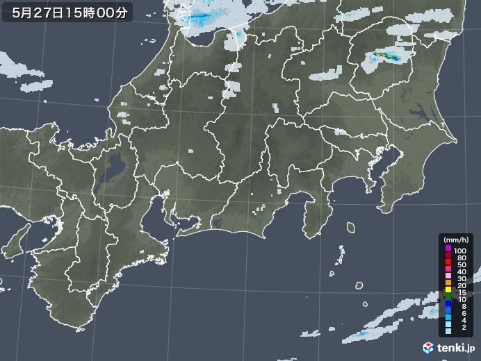 東海地方の雨雲レーダー(2020年05月27日)