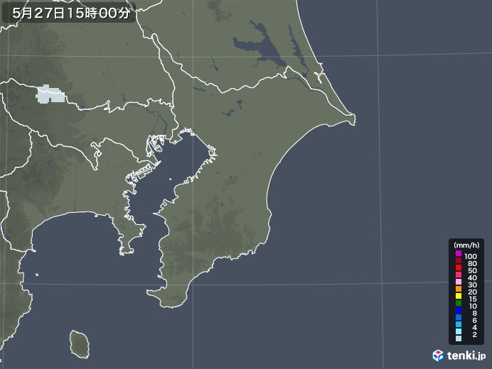 千葉県の雨雲レーダー(2020年05月27日)