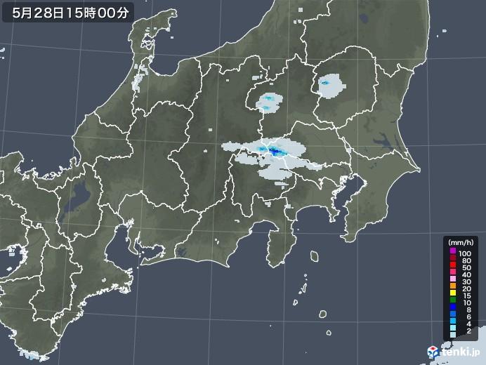 関東・甲信地方の雨雲レーダー(2020年05月28日)