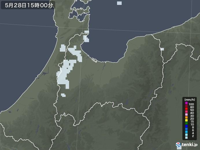 富山県の雨雲レーダー(2020年05月28日)