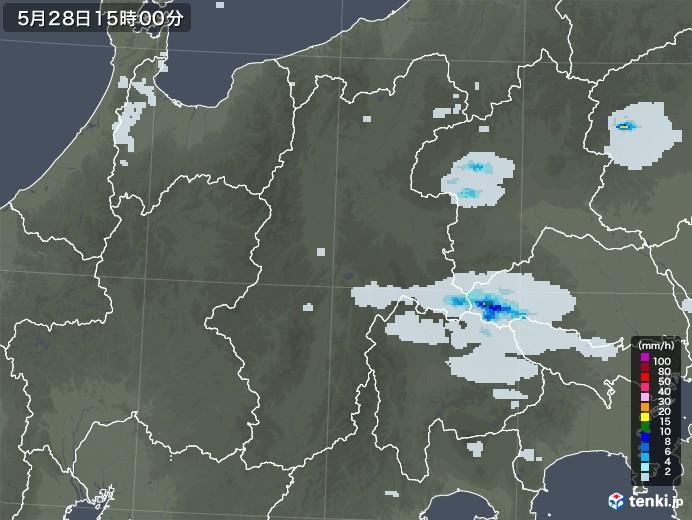 長野県の雨雲レーダー(2020年05月28日)