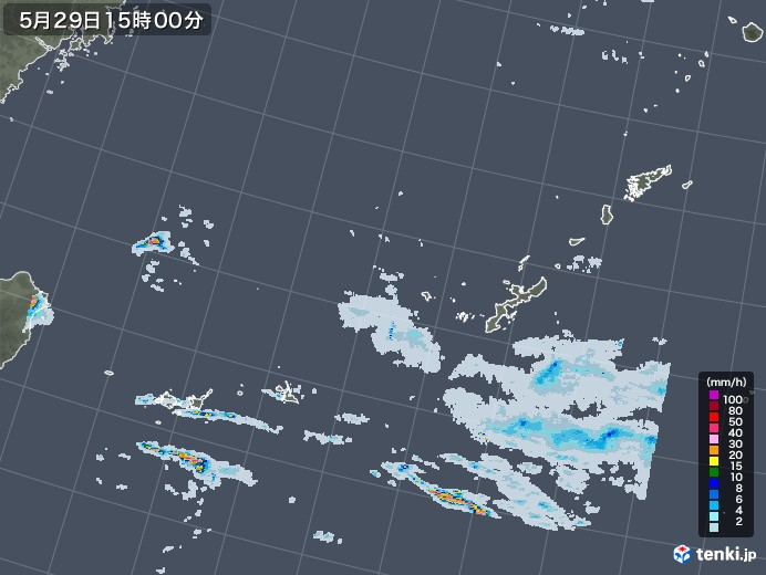 沖縄地方の雨雲レーダー(2020年05月29日)