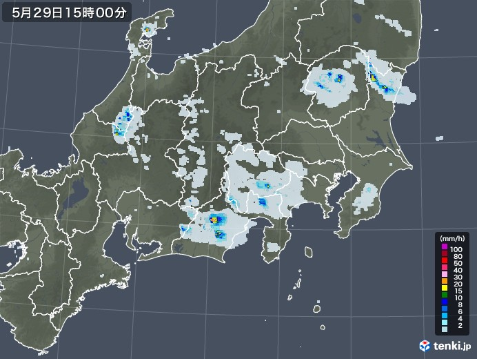 関東・甲信地方の雨雲レーダー(2020年05月29日)