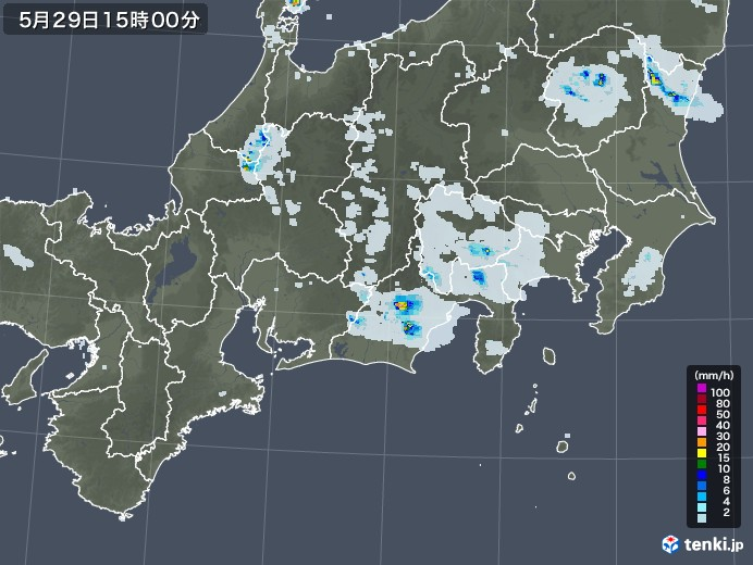 東海地方の雨雲レーダー(2020年05月29日)