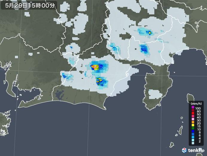 静岡県の雨雲レーダー(2020年05月29日)