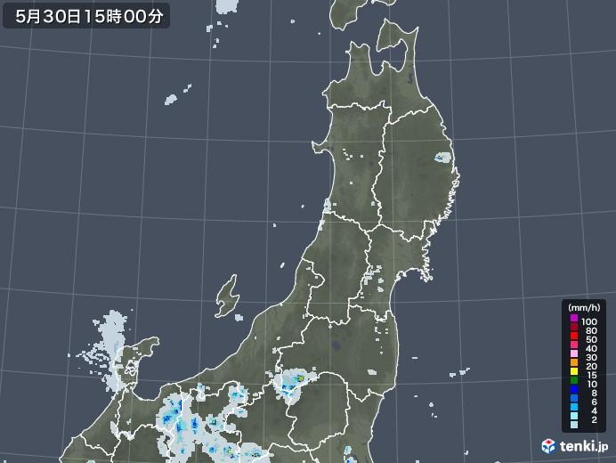 東北地方の雨雲レーダー(2020年05月30日)