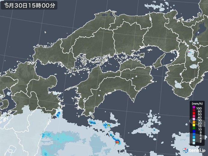 四国地方の雨雲レーダー(2020年05月30日)