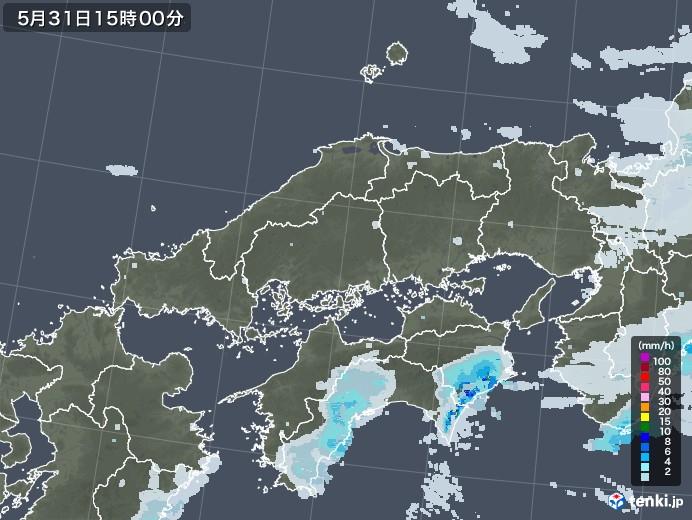 中国地方の雨雲レーダー(2020年05月31日)
