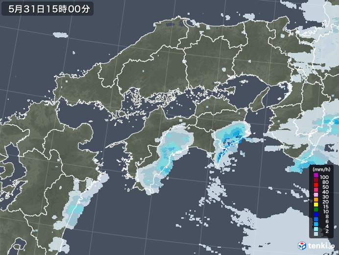 四国地方の雨雲レーダー(2020年05月31日)