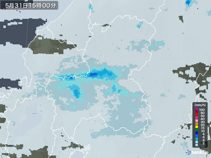 岐阜県の雨雲レーダー(2020年05月31日)