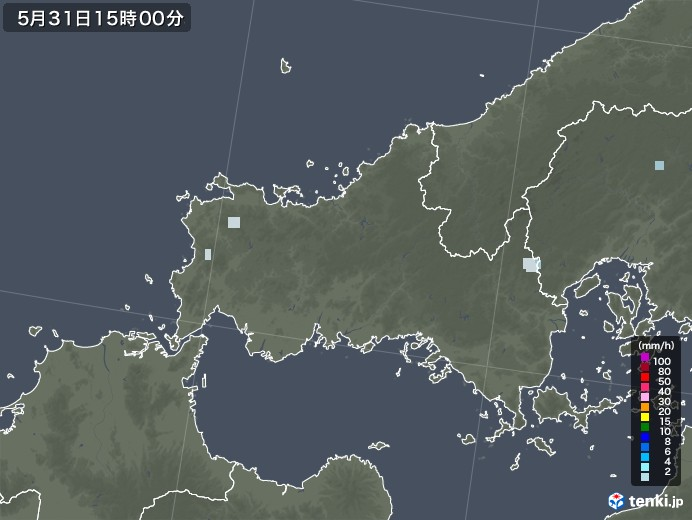 山口県の雨雲レーダー(2020年05月31日)
