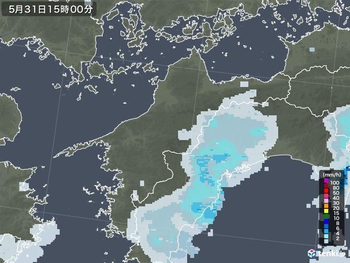 愛媛県の雨雲レーダー(2020年05月31日)