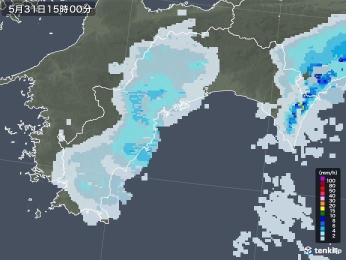 高知県の雨雲レーダー(2020年05月31日)